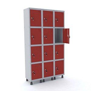 Roupeiro de Aco 3 Vaos 12 Portas com Fechadura Pandin Cinza e Vermelho  1,90 M