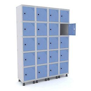 Roupeiro de Aco 4 Vaos 20 Portas com Pitao Pandin Cinza e Azul Dali  1,90 M