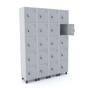 Roupeiro de Aco 4 Vaos 20 Portas com Fechadura Pandin Cinza  1,90 M
