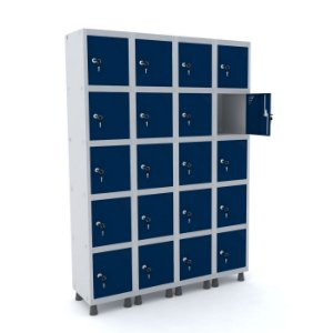 Roupeiro de Aco 4 Vaos 20 Portas com Fechadura Pandin Cinza e Azul Del Rey  1,90 M