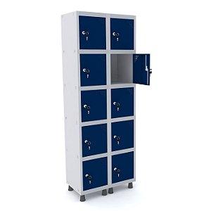 Roupeiro de Aco 2 Vaos 10 Portas com Fechadura Pandin Cinza e Azul Del Rey  1,90 M