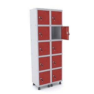 Roupeiro de Aco 2 Vaos 10 Portas com Fechadura Pandin Cinza e Vermelho  1,90 M
