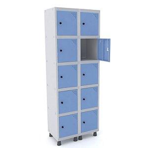 Roupeiro de Aco 2 Vaos 10 Portas com Pitao Pandin Cinza e Azul Dali  1,90 M