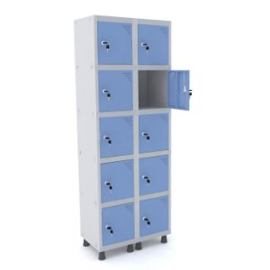 Roupeiro de Aco 2 Vaos 10 Portas com Fechadura Pandin Cinza e Azul Dali  1,90 M