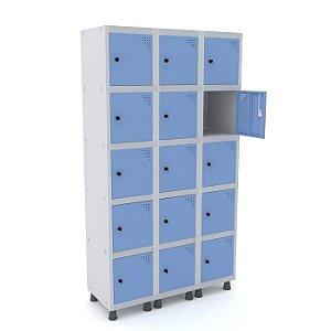 Roupeiro de Aco 3 Vaos 15 Portas com Pitao Pandin Cinza e Azul Dali  1,90 M