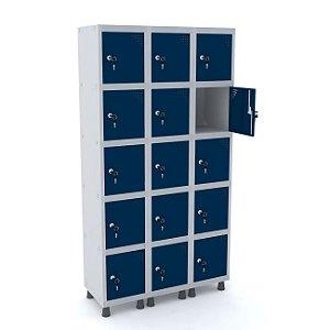 Roupeiro de Aco 3 Vaos 15 Portas com Fechadura Pandin Cinza e Azul Del Rey  1,90 M