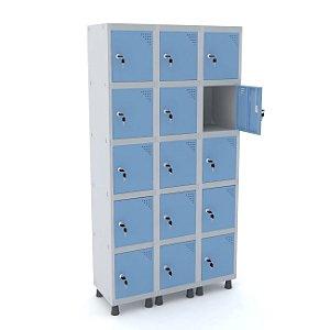 Roupeiro de Aco 3 Vaos 15 Portas com Fechadura Pandin Cinza e Azul Dali  1,90 M