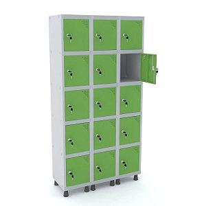 Roupeiro de Aco 3 Vaos 15 Portas com Fechadura Pandin Cinza e Verde Miro  1,90 M