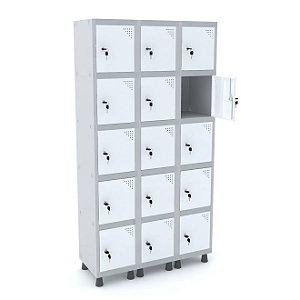 Roupeiro de Aco 3 Vaos 15 Portas com Fechadura Pandin Cinza e Branco  1,90 M