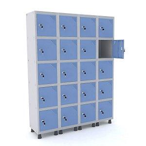 Roupeiro de Aco 4 Vaos 20 Portas com Fechadura Pandin Cinza e Azul Dali  1,90 M