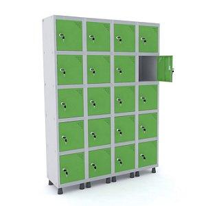 Roupeiro de Aco 4 Vaos 20 Portas com Fechadura Pandin Cinza e Verde Miro  1,90 M