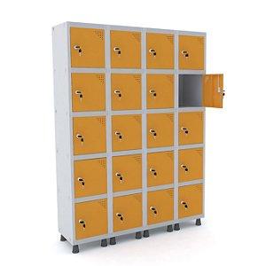 Roupeiro de Aco 4 Vaos 20 Portas com Fechadura Pandin Cinza e Laranja Picasso  1,90 M