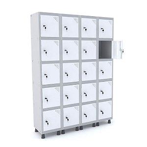 Roupeiro de Aco 4 Vaos 20 Portas com Fechadura Pandin Cinza e Branco  1,90 M