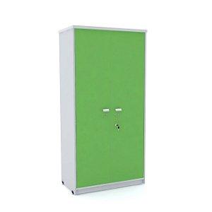 Armario Alto 02 Portas de Aco Arena Pandin Cinza e Verde Miro  1,60 M