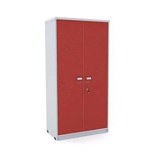 Armario Alto 02 Portas de Aco Arena Pandin Cinza e Vermelho  1,60 M