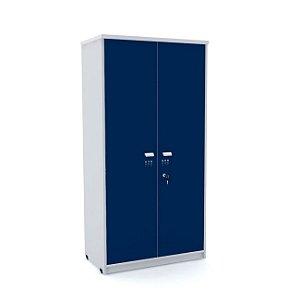 Armario Alto 02 Portas de Aco Arena Pandin Cinza e Azul Del Rey  1,60 M