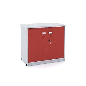 Armario Baixo 02 Portas de Aco Arena Pandin Cinza e Vermelho 73 Cm