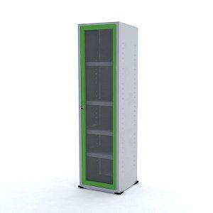 Armario com Moldura para Vidro Pandin Cinza e Verde Miro  1,70 M