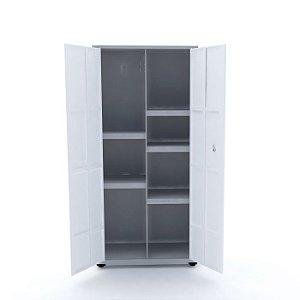 Armario de Aco Multiuso 02 Portas Pandin Cinza e Branco  1,60 M
