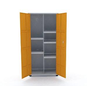 Armario de Aco Multiuso 02 Portas Pandin Cinza e Laranja Picasso  1,60 M