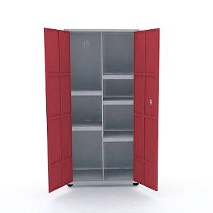 Armario de Aco Multiuso 02 Portas Pandin Cinza e Vermelho  1,60 M