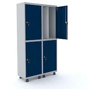 Roupeiro de Aco Insalubre 2 Vaos 4 Portas com Fechadura Pandin Cinza e Azul Del Rey  1,90 M