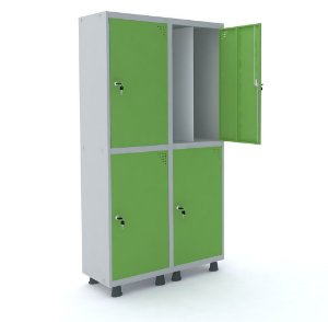 Roupeiro de Aco Insalubre 2 Vaos 4 Portas com Fechadura Pandin Cinza e Verde Miro  1,90 M