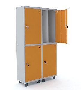 Roupeiro de Aco Insalubre 2 Vaos 4 Portas com Fechadura Pandin Cinza e Laranja Picasso  1,90 M