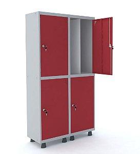 Roupeiro de Aco Insalubre 2 Vaos 4 Portas com Fechadura Pandin Cinza e Vermelho  1,90 M