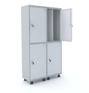 Roupeiro de Aco Insalubre 2 Vaos 4 Portas com Fechadura Pandin Cinza e Branco  1,90 M