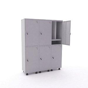 Roupeiro de Aco Insalubre 3 Vaos 6 Portas com Prateleira Interna Pandin Cinza Cristal  1,90 M