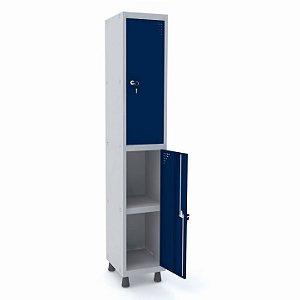 Roupeiro de Aco 1 Vao 2 Portas com Prateleira Interna Pandin Cinza e Azul Del Rey  1,90 M