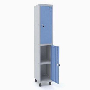 Roupeiro de Aco 1 Vao 2 Portas com Prateleira Interna Pandin Cinza e Azul Dali  1,90 M