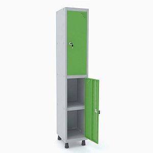 Roupeiro de Aco 1 Vao 2 Portas com Prateleira Interna Pandin Cinza e Verde Miro  1,90 M