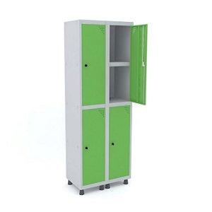 Roupeiro de Aco 2 Vaos 4 Portas com Prateleira Interna Pandin Cinza e Verde Miro  1,90 M