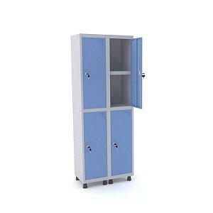 Roupeiro de Aco 2 Vaos 4 Portas com Prateleira Interna Pandin Cinza e Azul Dali  1,90 M
