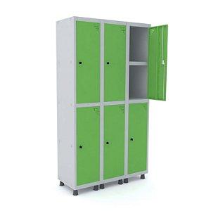Roupeiro de Aco 3 Vaos 6 Portas com Prateleira Interna e Pitao Pandin Cinza E Verde Miro  1,90 M