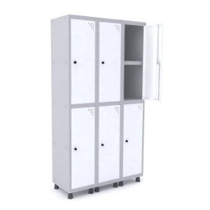 Roupeiro de Aco 3 Vaos 6 Portas com Prateleira Interna Pandin Cinza e Branco  1,90 M