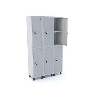 Roupeiro de Aco 3 Vaos 6 Portas com Prateleira Interna Pandin Cinza Cristal  1,90 M