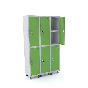 Roupeiro de Aco 3 Vaos 6 Portas com Prateleira Interna Pandin Cinza e Verde Miro  1,90 M