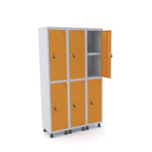 Roupeiro de Aco 3 Vaos 6 Portas com Prateleira Interna Pandin Cinza e Laranja Picasso  1,90 M