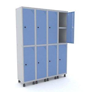 Roupeiro de Aco 4 Vaos 8 Portas com Prateleira Interna Pandin Cinza e Azul Dali  1,90 M