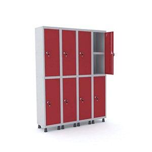 Roupeiro de Aco 4 Vaos 8 Portas com Prateleira Interna Pandin Cinza e Vermelho  1,90 M