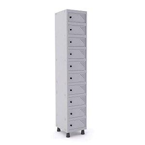 Armario Porta Objetos de Aco 1 Vao 10 Portas Pandin Cinza Cristal  1,90 M