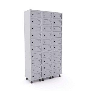 Armario Porta Objetos de Aco 3 Vaos 30 Portas Pandin Cinza Cristal  1,90 M