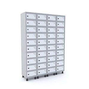 Armario Porta Objetos de Aco 4 Vaos 40 Portas Pandin Cinza e Branco  1,90 M