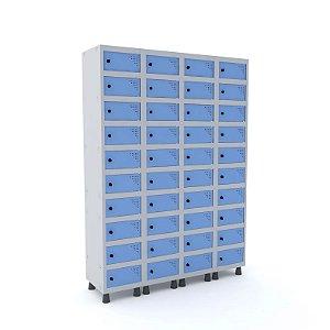 Armario Porta Objetos de Aco 4 Vaos 40 Portas Pitao Pandin Cinza e Azul Dali  1,90 M