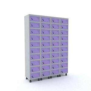 Armario Porta Objetos de Aco 4 Vaos 40 Portas Pandin Cinza e Lilas  1,90 M