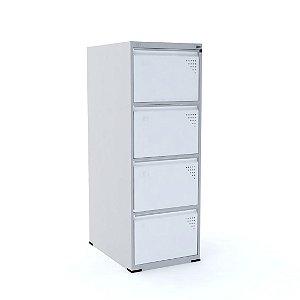 Arquivo de Aco com 4 Gavetas Intermediario Pandin Cinza e Branco  1,35 M