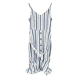 Vestido de Alça Listrado com Cinto - Seiki